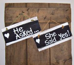 Reclaimed HE Asked SHE Said YES Wood Sign Hand by JunkWorksEtc, $19.50