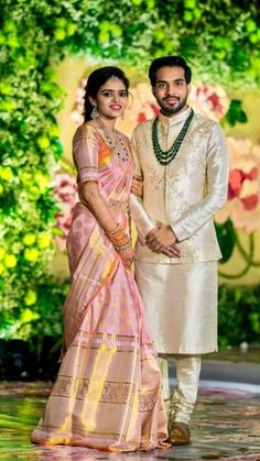 Shopzters 12 Best Pastel Sarees We ve Seen On Our Brides Engagement Dress For Groom, Couple Wedding Dress, Engagement Saree, Indian Engagement Outfit, Groom Wedding Dress, Wedding Wear, Wedding Couples, Boho Wedding, Wedding Reception