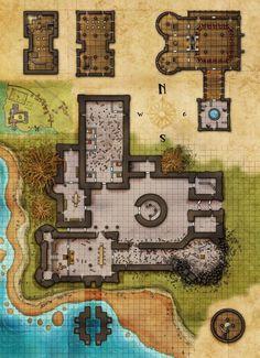 Damaged Temple complex cliff farmland river Eastern Border Fantasy Maps by Robert Lazzaretti