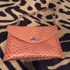 "Faux Ostrich Handbag Nice bag with two sections and inside zipper. Excellent condition. Can be used as clutch or over the shoulder with chain. 12.5""X 8"" Francesca's Collections Bags Shoulder Bags"