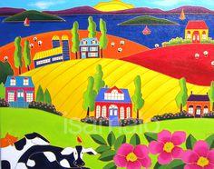 Les vaches à Kamouraska par Isabelle Malo • Acrylique sur toile • Folk art  • www.isamalo.com • Artiste peintre du Québec •Art naïf