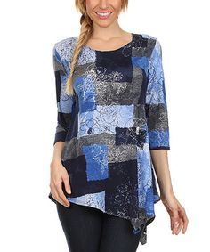 Look what I found on #zulily! Blue Patchwork Floral Tunic - Women & Plus #zulilyfinds