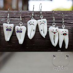 Tooth earrings made of clay kawaii special handmade by onegaiKAERU, ¥1500