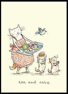Anita Jeram Two Bad Mice Greeting Cards: Tea and Cake I Love Cats, Crazy Cats, Cute Cats, Anita Jeram, Image Chat, Tea Art, Cat Drawing, Children's Book Illustration, Cats And Kittens