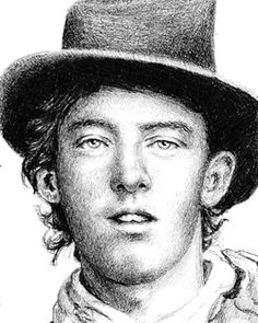Billy Bonney sketch from original tin type, artist unknown to us . sketch of billy the kid Pablo Escobar, William H Bonney, Vintage Photographs, Vintage Photos, Old West Outlaws, Famous Outlaws, Old West Photos, Billy The Kids, American Frontier