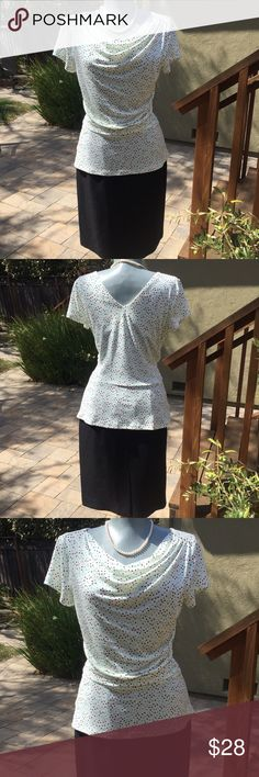 "AnnTaylorTop&Skirt Bundle. Beautiful Ann Taylor Top, size S and Le Suit Black Skirt, size 4P. Beautiful.  Top bust 34"". Skirt waist 27"",  hips 38"" and length 22"". Very good condition. Beautiful. Ann Taylor and Le Suit Other"