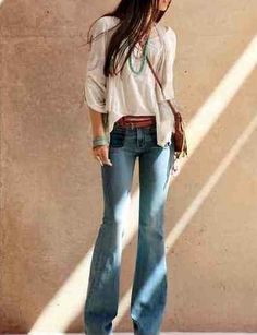 Denim bell bottoms + floaty peasant top. Great tan leather belt, silver cuff & turquoise necklace. Boho chic.