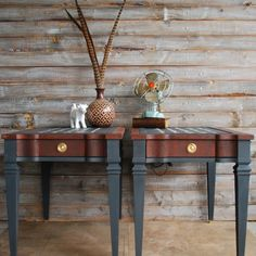Come see the French script on the top of these matching end tables!