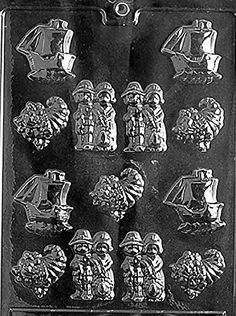 Thanksgiving Assortment Pilgrams, Cornucopia, Ship Chocolate Mold - T008 - Includes Melting & Chocolate Molding Instructions