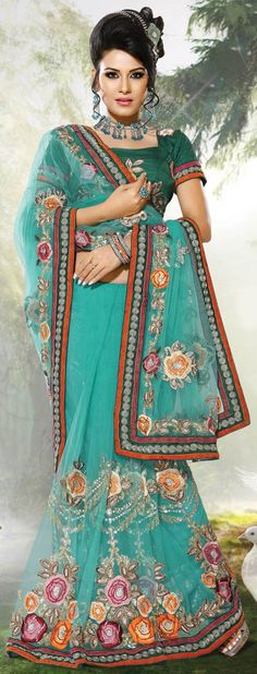 Fashionable sea green saree in net