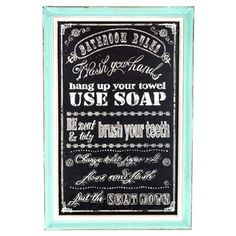 Bathroom Rules Chalkboard Art with Turquoise Frame
