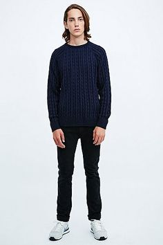 Shore Leave Plaited Cable Knit Jumper in Navy - Urban Outfitters