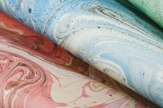 Marbled decoration comes from a long tradition which probably originated in Japan or Persia and has been used in Europe since the sixteenth century. These papers are hand-marbled in Italy by a third generation family business. 500mm x 700mm. www.rossi1931.com