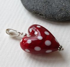 Polka Dots, Dark Red Heart Shaped Glass Bead Pendant with White Polka Dots, Sterling Silver, Lampwork Jewelry, Glass Jewelry, Glass Heart by MarianneDegener on Etsy