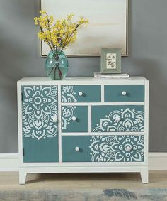 Coast to Coast Garden-Print Five-Drawer Cabinet Refurbished Furniture, Upcycled Furniture, Furniture Makeover, Furniture Hacks, Recycled Furniture, Furniture Restoration, Redo Furniture, Stencil Furniture, Refinishing Furniture
