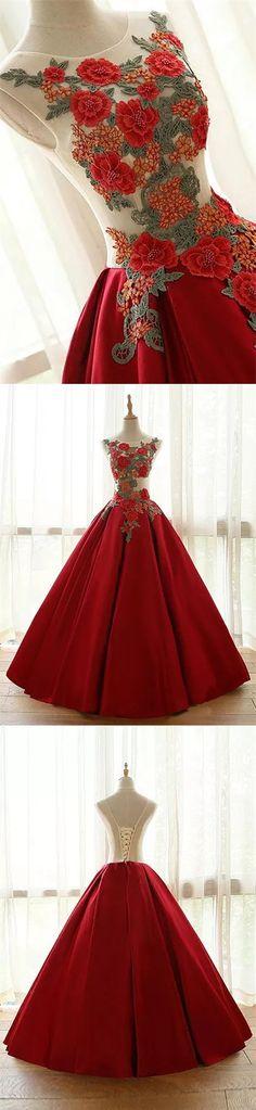 Ball Gown Prom Dresses Floor-length Appliques Burgundy Long Prom Dress/Evening Dress JKS170#Burgundy#lace#embroidered#embroideredress#ballgown#gowns#longdress#lace-up#beautifuldress#dance#dancedress#fashion#style