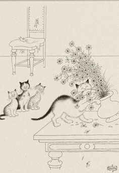 Albert Dubout 'Les chats' 11