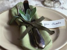 Entertaining in a special way for your special guests?  Place setting idea #4 Fall colors mixed with fresh sage -
