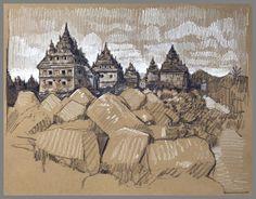 Travel Drawing: Plaosan Temples, Yogyakarta, Java, Indonesia Prismacolor Pencil on Paper x 2017 Mask Drawing, Travel Drawing, Toned Paper, African Masks, Yogyakarta, Prismacolor, Vintage World Maps, Watercolor, Fine Art