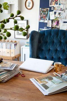 blue velvet chair - rustic table