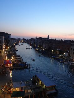 Pic we took in Venice from our window at hotel Palazzo Bembo. Gondolas lined up on grand canal at sunset.
