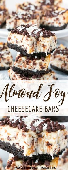 Chocolate and coconut are the stars of these ìncredìbly yummy almond joy cheesecake bars! These almond joy cheesecake bars are the perfe. Best Cheesecake, Cheesecake Recipes, Cookie Recipes, Dessert Recipes, Almond Joy Cheesecake Recipe, Recipes Dinner, Breakfast Recipes, Almond Joy Bars Recipe, Snickers Cheesecake