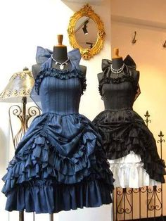 Gothic Lolita Gathered Curtain Dresses Navy Blue and Black These are so fancy and elegant. I want a red one! Gothic Lolita Dress, Gothic Lolita Fashion, Steampunk Fashion, Victorian Fashion, Lolita Style, Gothic Steampunk, Steampunk Clothing, Victorian Gothic, Cute Prom Dresses