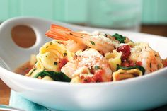 What's better than cheese tortellini? Cheese tortellini with garlic red pepper sauce, shrimp, spinach and fresh basil, that's what. Eating right never tasted so good.