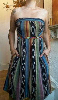 ANTHROPOLOGIE EDME & ESYLLTE PUEBLO AZTEC STRAPLESS DRESS BOHO HIPPIE IKAT 4…
