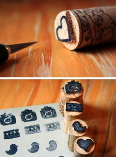 Awesome idea, handcarved cork stamps. These would be great to print on plain paper or use for gift tags.
