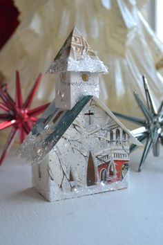 Vintage Handmade Christmas Card Glitter House Church Illuminating Ornament One Of A Kind