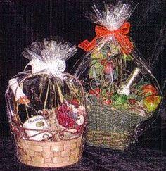 Clear Plastic Cellophane Basket Gift Wrap bag, Christmas Gift Baskets, Cello Gift Basket Wrapping Bag.  via Etsy.