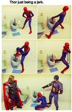 comic with action figures showing Thor being a dick by using his hammer to block the toilet 34 Marvel Memes Stan Lee Would Appreciate - Funny memes that Avengers Humor, The Avengers, Marvel Jokes, Films Marvel, Funny Marvel Memes, Dc Memes, Marvel Dc Comics, Funny Comics, Funny Memes