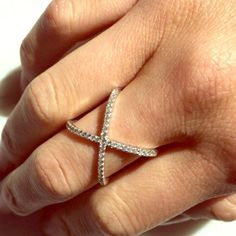 ✨Last One✨Iconic  X Ring .925 Sterling Silver w/ CZ. Wear on ring finger, middle finger or high up on the finger you point with. So cute💞Made in USA. ✨Firm Price✨ Muse Refined Jewelry Rings