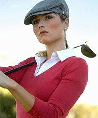 Nice cap, I wonder if she is wearing plus fours or as we say here knickers & argyle socks.......Just like Payne Stewart.