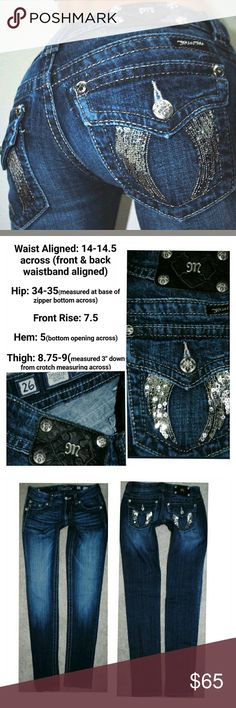 MISS ME ANGEL Wing SKINNY DENIM JEANS 2 26 X 31 No flaws to note. Minor signs of wear just from being pre owned. Miss Me Jeans Skinny
