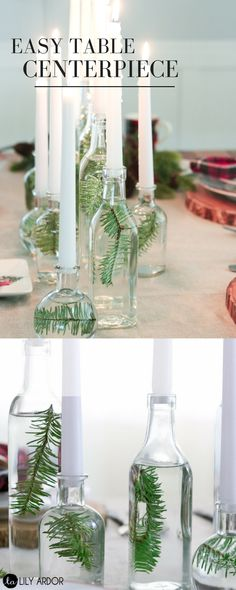 How lovely is the simplistic table display. Recycle your glass bottles for this look!