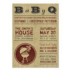 Rustic Burlap BBQ Baby Shower Invitations Custom Announcement
