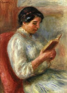 Woman Reading via Pierre-Auguste Renoir