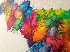 Starburst Melted Crayon art by ArtisticJunkie on Etsy