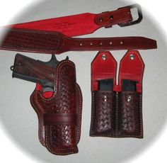 Items similar to Made to Order 1911 gun rig with holster, belt and clip carrier - week delivery on Etsy 1911 Holster, Gun Holster, Leather Dye, Leather Craft, Red Leather, Revolver, Custom Leather Holsters, Western Holsters, Cowboy Action Shooting