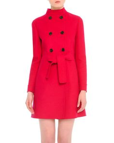 Double-Breasted Mid-Length Felt Coat by Valentino at Bergdorf Goodman. $5290