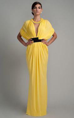 Lemon Jersey Draped Gown by Vionnet - Moda Operandi