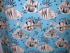 mid century fish fabric / Poland 1950s