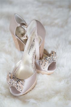 Fancy pink bejeweled wedding shoes. Captured By: Romancing Belle Photography ---> http://www.weddingchicks.com/2014/05/26/glamorous-vow-renewal-ceremony/