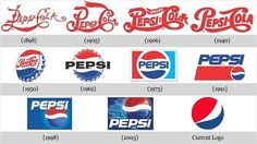 Over the years brands such as Pepsi change their logos and marketing slogans. Here are a few of the logos since the late and slogans during the past 60 years: Twice as Much for a More Bounce to the A Logo Branding, Brand Identity, Branding Design, Logo Design, Graphic Design, Branding Agency, Packaging Design, Coca Cola, Web Design