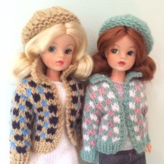 Hand knitted jackets and hats for Sindy