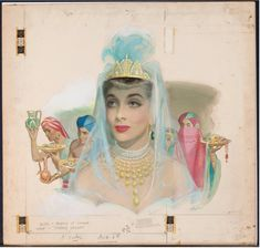 """Dressed like a Queen, the Queen of Sheba. This painting illustrated the story """"Sheba's Secret"""" in American Weekly magazine. Pin Up Illustration, Indian Art Paintings, Cleopatra, Magazine Art, Pin Up Girls, Illustrators, Princess Zelda, Fine Art, Drawings"""