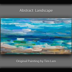 "Art Original Texture Painting Huge Modern decor Acrylic Abstract Painting on gallery wrap canvas by Tim Lam 48"" x 24"" on Etsy, $358.00"