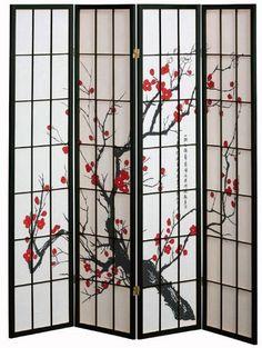 4 panel Cherry Blossom Design Room Divider, 4-PANEL, BLACK